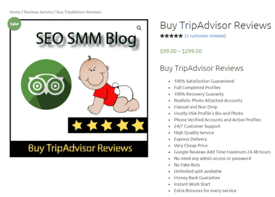 An example of a website that offers paid TripAdvisor reviews