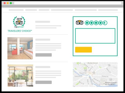 Image representing how TripAdvisor widget looks on a website TripAdvisor API